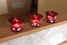 Glass candlesticks / mini okrúhle svietniky zo skla, maľované nevypaľovanou vitrážou - hand painted glass candlesticks