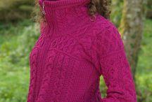 Women's Catalogue / Women's Zip Collar Cable Knit Sweater - Natural