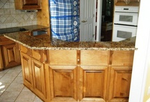 Giallo Fiorito Granite on medium wood