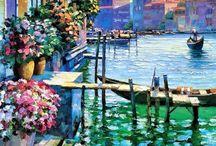 pinturas con río y mar