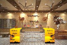 Интерьер магазина мужской одежды в стиле сафари