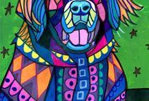 Koirat piirtäen ja maalaten