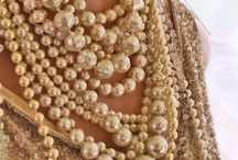 Necklaces in bling and pearls