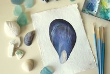 My seaside studios / Sneaky peek photographs of my studio and on location and includes pictures of paintings in progress.
