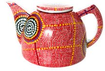 Aboriginal design Teapots / Fine Bone China Teapots Stainless Steel Mesh Strainer - ideal for 2 cups boxed with story of artwork and Artist  Royalties from these products directly benefit the artist and their community Warlukurlangu Artists Aboriginal Corporation  PRICE:  $60.00  to order or make enquiries please info@kullillaart.com.au