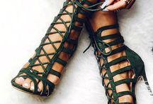 Cage lace up heels
