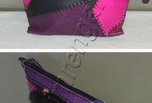 Deri Patchwork El Çantası--Leather Patchwork Handbag