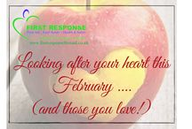 February, focusing on heart health.... / It's February and our thoughts may turn to love and romance with Valentine's day just around the corner.   At First Response First Aid we  are thinking about heart-health of a different kind, how to spot someone having a heart attack and what to do, but also how we can look after our hearts and the 7 things we can do to keep them healthy.