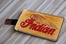 Indian moto leather sleeve, Christmas gifts, custom, handpainted