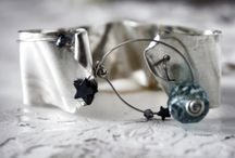 """Jewels made by Amalia// """"Blue Lagoon"""" bracelet. Hand melted pure silver with gem stonenes / One-of-a-kind piece. Gold plaited pure silver (999 grades of silver, 100% hand processed) with gem stones and fresh water pearls. Inspired by the sky and the night stars. The Blue Lagoon bracelet is created and designed at my personal laboratory by Lila Dendrinou  The Blue Lagoon bracelet is designed and created by Lilla Dendrinou."""
