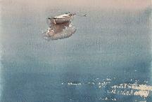 Watercolor Marinas/seascape/boats/ship