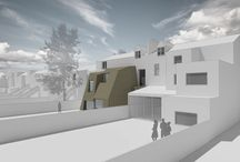 Gloucester Drive / This scheme to re-configure a large Victorian house to create 5 flats for two brothers, who in addition wish to live there, but also provide accommodation for aging parents.  A substantial double-height rear extension is proposed which takes its sculptural form from the planning requirements to prevent overshadowing.  Cutting away at the bronze-clad extension allows for a larger extension and a dynamic structure that enlivens the rear of the house whilst complementing the original building mass.