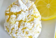 Lemon cake biscuits covered in icing sugar