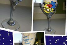 wine glasses painted