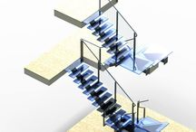 Glass Staircase / Architecture Glass stairs or glass staircases are becoming more and more common.Glass stair treads are usually manufactured using a combination of 10mm float and 25mm float, laminated together.  A non slip surface can be achieved in several ways, the most popular being an all over sandblast and Ritec coat finish.  Another popular anti-slip preference is for grooves to be cut into the front edge of the tread