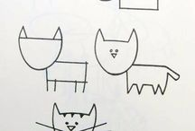 learning to draw pets- cats, dogs, rabbits and hedgehogs