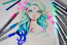 Goddesses and Gods drawings