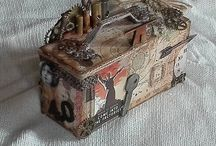 Mixed media industrial altered trinket box - by Elena Cavalli