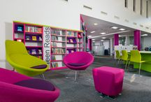 Kingston Library Milton Keynes / A fabulous new library in the growing metropolis of Milton Keynes. Funky furnishings, great work and study space, presentation areas and a hireable pod. Bespoke shelving with LED signage looks modern and appealing.
