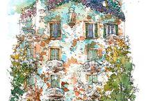 Barcelona original watercolors / by drawing Barcelona