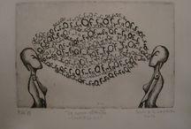 """Le Cosmicomiche / Illustrazioni Sonia Giampaolo testo """"Le Cosmicomiche"""" di Italo Calvino  Acquaforte e Acquatinta su zinco"""