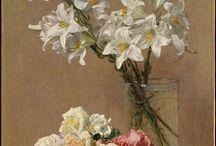 yağlı boya vazoda çiçekler
