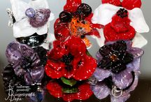 Flowers Jewelry / Jewelry with flowers. Artisan lampwork flowers and sterling silver.
