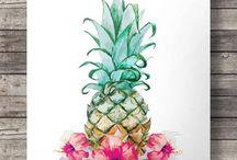 Ananas  et flamant rose