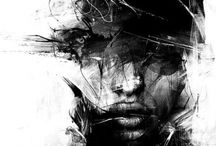 Thoughts / A alma que grita decorando papeis e telas...