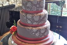 Grey and pink wedding cake. Embossed lace