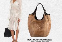 Mona taupe Croc embossed Italian leather hobo