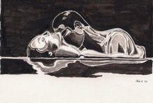 Heidi Bjork Passion Collection / Watercolor art in black & white / by Heidi Bjork