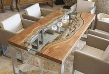 glass and wood tables