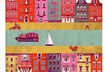 Fiabe, case e paesi. Illustrazioni naive / Houses north europe cities old fashion naive