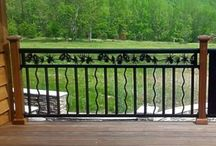 Baluster & Spindle Railing / #Baulster Railings now available in 14 different designs, spindle types, and colors. Durable powder coated steel or aluminum #railing. Quality product. Beautiful intricate border design.  www.NatureRails.com or 888-743-2325