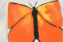 Painting flowers butterflies garden art
