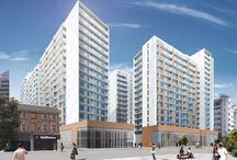 Chapel Wharf / PCE Ltd in residence at Dandara's Chapel Wharf project in Manchester. The 4.2 acre site adjacent to the Lowry Hotel and between the River Irwell and Chapel Street in Salford, Manchester is currently being built by Main Contractor Sir Robert McAlpine.