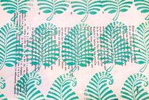 Block Printing - Fern Leaves / Block printing, fabric design - fern leaves.