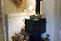 Inside:  Wood stove
