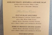 Wedding Menus / Let your guests know what's cooking! Personalized menus for each guest to read before the meal comes!