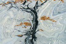 Suminagashi, ebru, marble papers