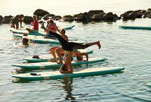 Yoga on surfboard