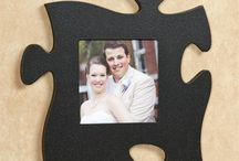 Puzzle Piece Wall Art / Puzzle lovers will flip over this unique wall art! This mix-and-match wall decor allows you to display cherished photos along with a quote or solid color in any manner you choose.
