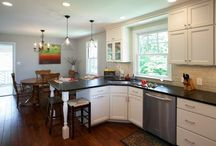 Kensington Kitchen Design Remodel / Elynn Gutridge designed this beautiful kitchen for Diana & George Borlase. White painted cabinets with a Soap Stone top and Hand Scraped hardwood floor. #kitchen design #kitchen remodel