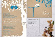 Burlap and blue wedding / Rustic burlap and blue teal wedding invitations love bird wedding invitation