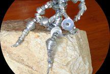 Sculpture fil de fer / fil de fer, écrous, rondelles