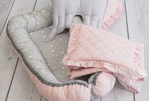 Kokon niemowlęcy / Babynest / Kokon niemowlęcy, leżaczek, gniazdko, pastelowy, chmurki, gwiazdki, pikowany --> www.betulli.pl
