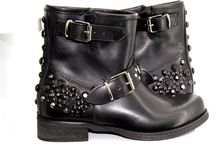 BIKERS / Leather Studded Bikers 100% Made In Italy Handcrafted