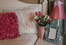 """""""Vintage Rose"""" / Dawn and Elizabeth work hard to bring some of those Loved Before products into our pages with fashion and flair. Can you really design a room around those Loved Before items?  They sure did.  Note the accessories with this lovely Sham and Coverlet.  You can purchase this Loved Before bedding, add a new pillow and a stunning lamp. This is a sneak peak of our """"Vintage Rose"""" a Loved Before bedding set.  More pieces to come this next week. Just wanted you to see what's coming. / by skip to my room"""