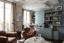 75m² - Paris 9ème / L'enjeu : créer 3 chambres dans un appartement de 74m² qui n'en comprenait qu'une.   La circulation a été entièrement modifiée sans toucher aux murs porteurs. Une cuisine ouverte occupe désormais le double séjour, l'ancienne cuisine et salle de bain sont devenues des chambres d'enfants. L'unique chambre a été modifiée pour créer une toute nouvelle salle de bains. Atout majeur : un bureau et une penderie ont trouvé leur place dans l'entrée.